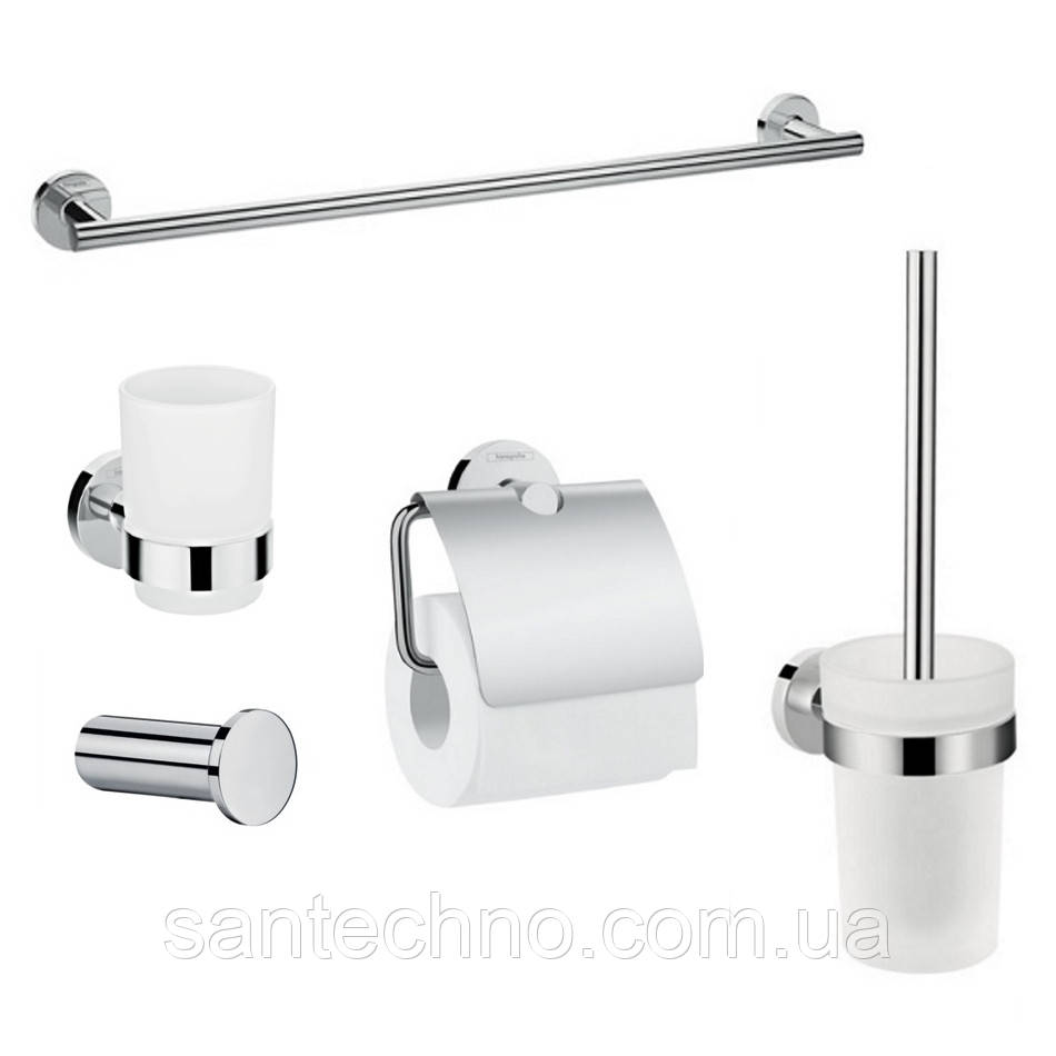 Logis Набор аксессуаров: крючок, полотенцедержатель, держатель туалетной бумаги, стакан,туалетная щётка (41711000+41716000+41723000+41718000+41722000)