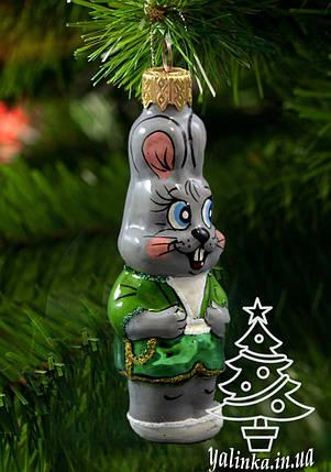 Стеклянная елочная игрушка Заяц, фото 2