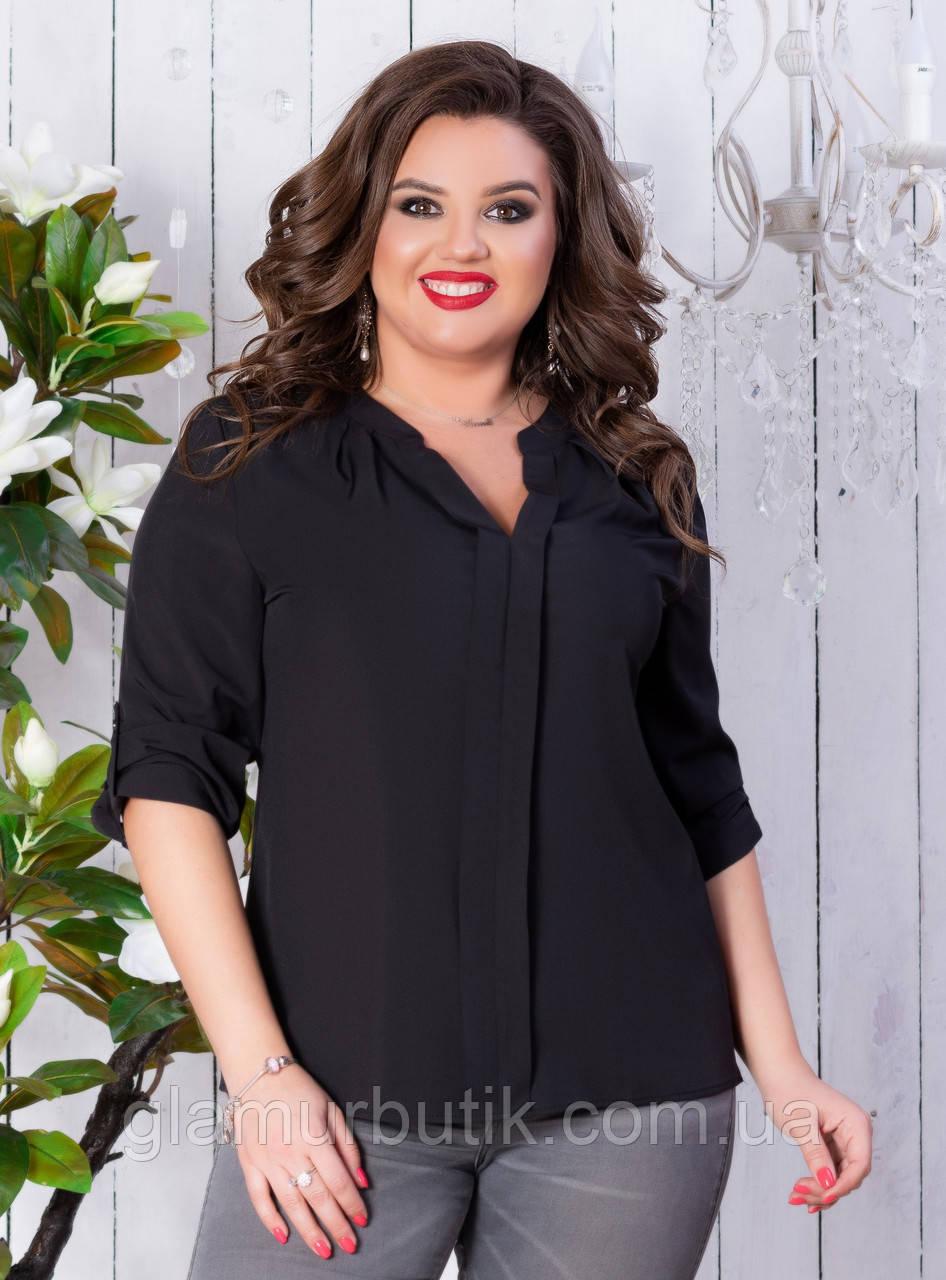 6e6ef4675e4 Стильная женская блузка с рукавом 3 4 чёрная больших размеров батал 50 52  54 56