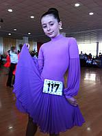 Б/У Платье сиреневое бейсик, 8-10 лет (36 размер)