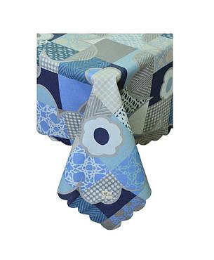 Водоотталкивающая скатерть Симфони синие цветы, фото 2