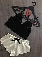 Кружевной топ и шорты молодежный пижамный комплект..