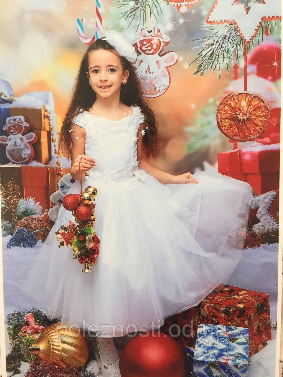 Б/У Шикарное белоснежное нарядное платье, 116-128 рост