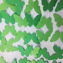 Гірлянда з метеликів 2 метри зелено-салатовий мікс