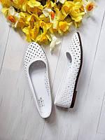 Балетки летние женские больших размеров с перфорацией кожаные 40, 41, 42 размеров женская обувь весна лето