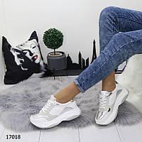 Кроссовки женские на массивной подошве белые с серебром, фото 1