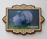 Деревянный магнит с крышечкой из прозрачного акрила Лазурное