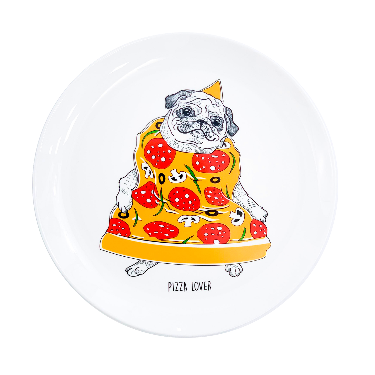 """Дизайнерская тарелка """"Пицца-мопс"""" оригинальный подарок"""