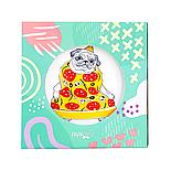 """Дизайнерская тарелка """"Пицца-мопс"""" оригинальный подарок, фото 2"""