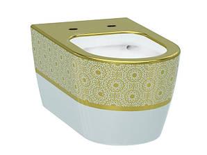 Alfa Чаша подвесного унитаза белый/декор золото IDEVIT