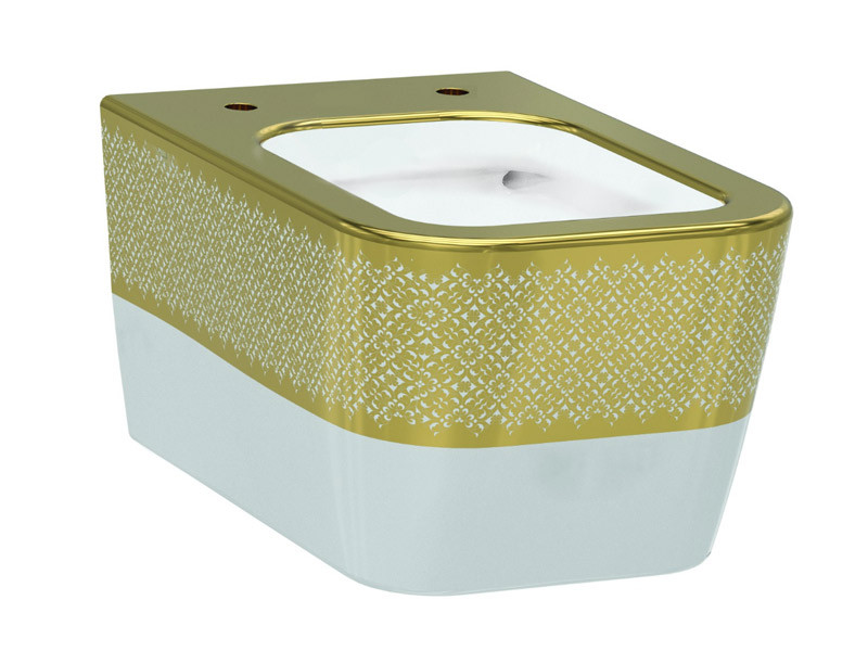 Halley Чаша подвесного унитаза белый/декор золото IDEVIT