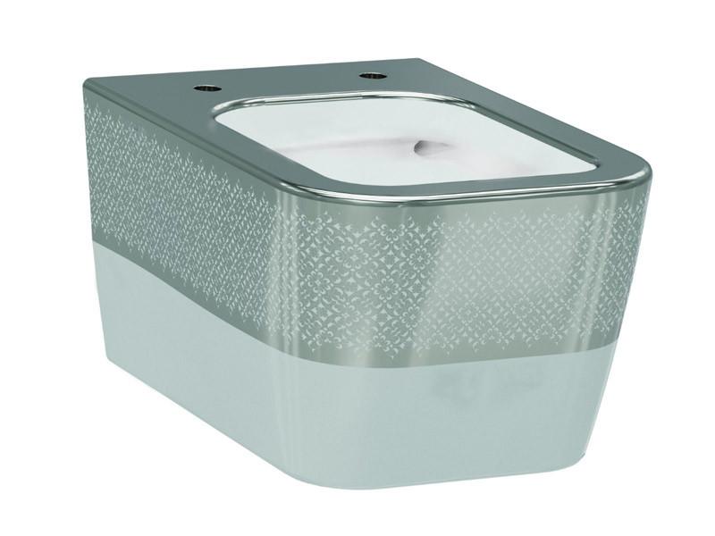 Halley Чаша подвесного унитаза белый/декор серебро IDEVIT