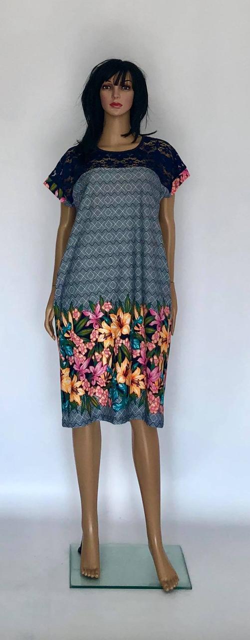 Трикотажное платье с кружевом больших размеров