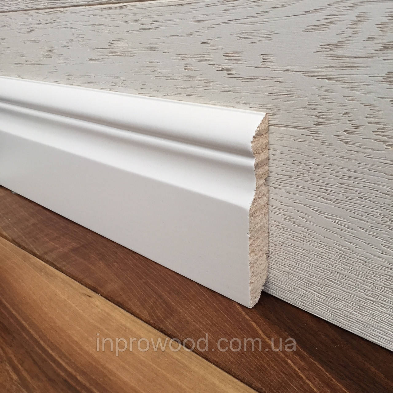 """""""Викториан"""" 100х16 мм, білий дерев'яний Плінтус Сосна"""