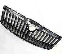 Оригинальная центральная решетка радиатора в капоте черная Шкода Октавия А5 Skoda Octavia A5 1z0853668a, фото 1