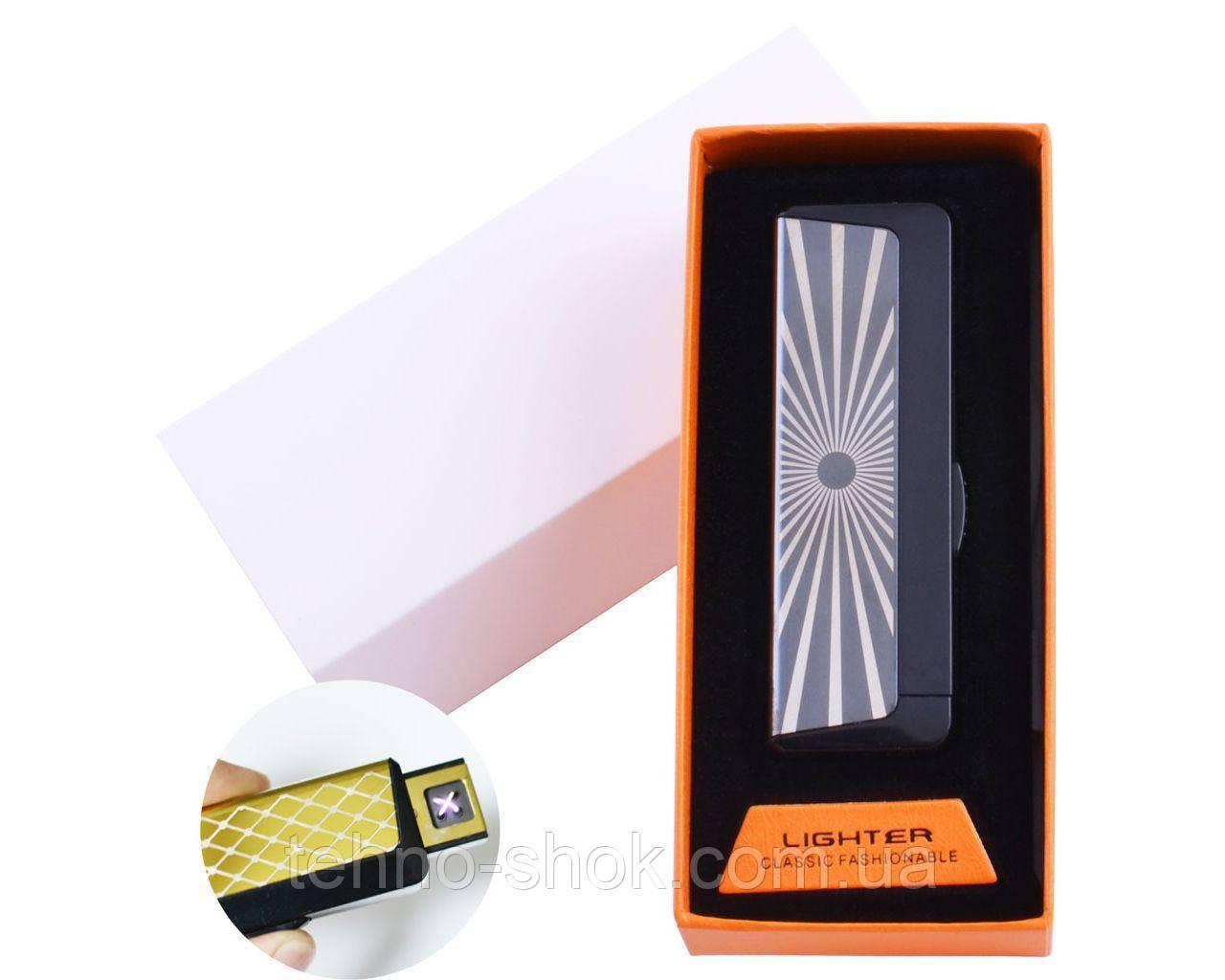 Электроимпульсная зажигалка Lighter в подарочной упаковке Абстракция (Двойная молния, USB)