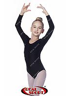 Купальник для художественной гимнастики, черный RS GM030101 (бифлекс, р-р 1-XL, рост 98-155см)