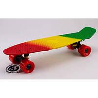 Скейтборд пластиковый Penny RUBBER SOFT FISH 22in полосатая дека (красный, желтый, зеленый)