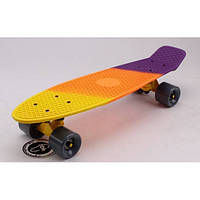 Скейтборд пластиковый Penny RUBBER SOFT FISH 22in полосатая дека (желтый,оранжевый, фиолетовый)