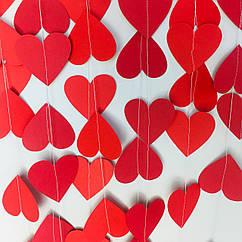 Гірлянда з сердечок 2 метри червона