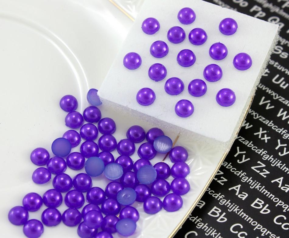 (20 грамм)  Полубусины, полужемчуг Ø6мм (прим. 350-400 шт) Цвет - Фиолетовый