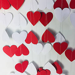 Гірлянда з сердечок 2 метри червоний і білий