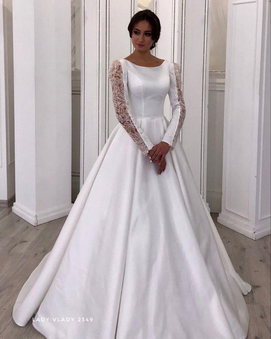 Закрытое атласное свадебное платье с длинными рукавами.  Lady Vlady 2019