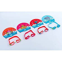 Набор для плавания детский: очки, шапочка NP-15 AWT MULTI (поликарбонат, TPR,силикон)