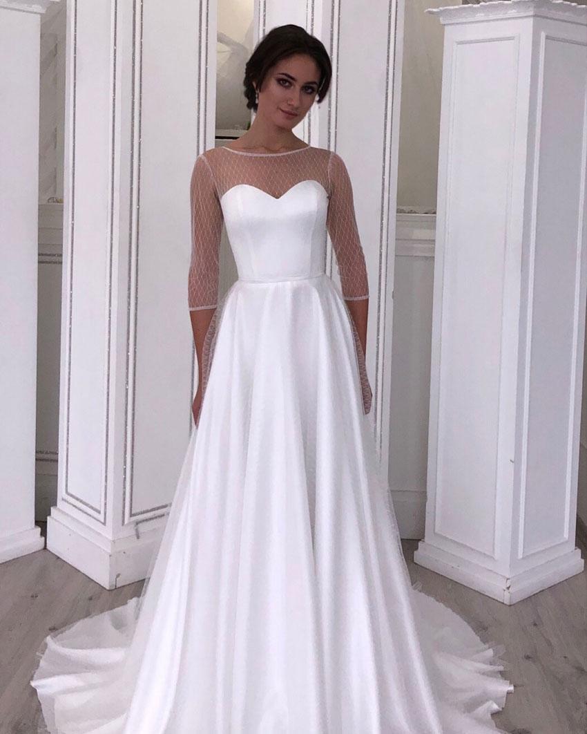 Классическое свадебное платье с прозрачным верхом.  Lady Vlady 2019