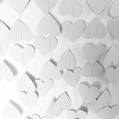 Гірлянда з сердечок 2 метри біла