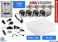 Комплект видеонаблюдения 2 МП Hikvision 4CO-IRF (Уличный) +HDD 1Tb