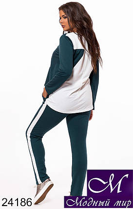 Красивый и стильный спортивный костюм больших размеров разные цвета (р. 48, 50, 52, 54) арт. 24186, фото 2