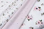 """Лоскут сатина """"Мелкие веточки с белыми цветочками"""" на розовом №1733с, размер 43*80 см, фото 4"""