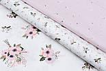"""Лоскут сатина """"Мелкие веточки с белыми цветочками"""" на розовом №1733с, размер 43*80 см, фото 5"""