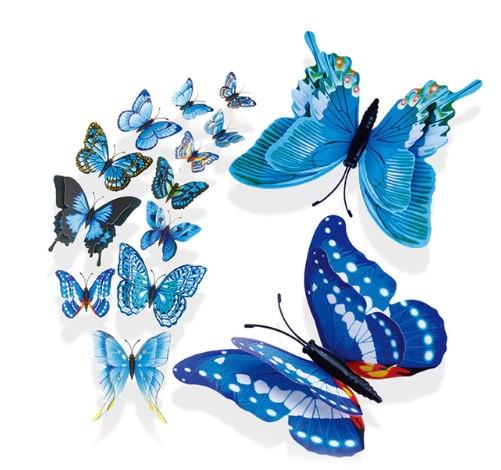 Голубые бабочки на магните - 12шт.