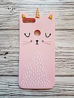 Объемный 3D силиконовый чехол для Huawei P Smart Нежно розовый кот единорог