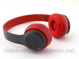 Beats solo2  P47 копия, Bluetooth наушники гарнитура c FM MP3, серые с красным, фото 3