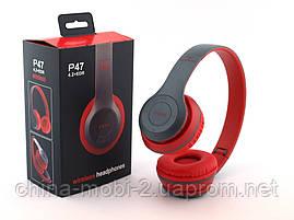 Beats solo2  P47 копия, Bluetooth наушники гарнитура c FM MP3, серые с красным, фото 2