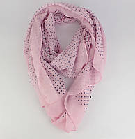 Легкий шарф, палантин Butef 0004-4 розовый в горошек, вискоза