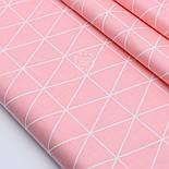 "Лоскут сатина ""Контуры треугольников 5.5 см"" на розово-лососевом фоне, №1714с, фото 2"
