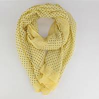 Легкий шарф, палантин Butef 0004-5 желтый в горошек, вискоза, фото 1