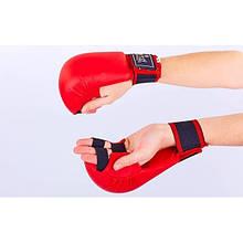 Рукавички для карате ZEL (PU, р-р L-XL, червоний) NK-23