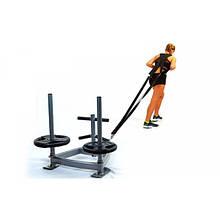 Сани тренировочные для кроссфита+петли SLED (металл, основание р-р 90х90х70см, h-80см) SJ-0