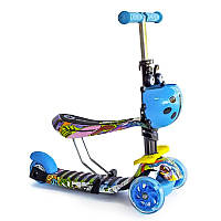 Самокат-беговел 2 в 1 QD ScooTer blue graffity TRS-92