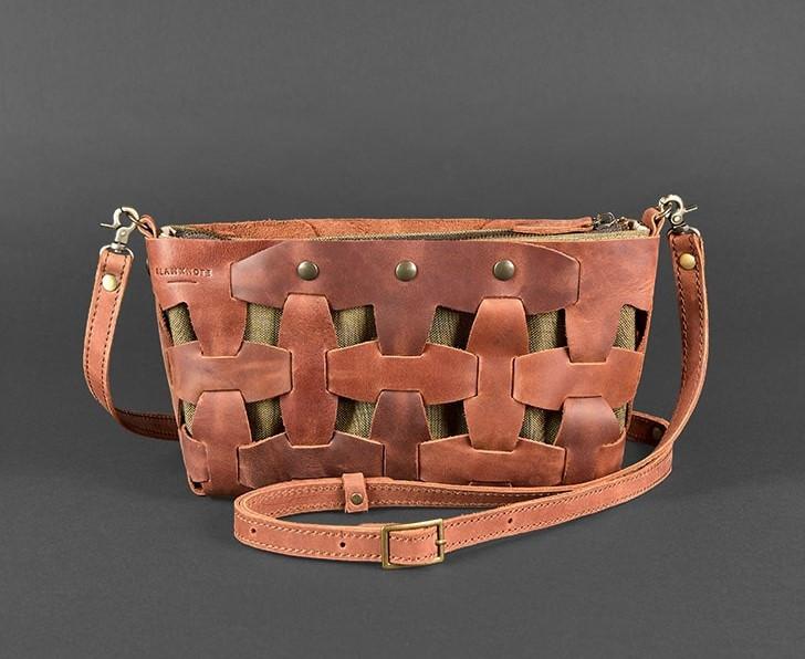 1c8536f5a7a0 Сумка-клатч женская натуральная кожа Crazy Horse, пазл коричневая ...