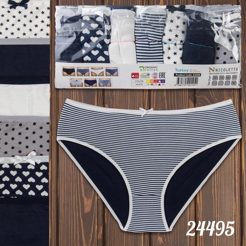 Трусы недельки мини-бикини женские узорные батальные Nicoletta Турция 24495 | 7 шт.