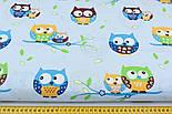 Ткань с цветными совами на голубом фоне (№132)., фото 2