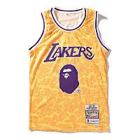 Майка Bape x Lakers жёлтая (бейп лейкерс мужская женская)