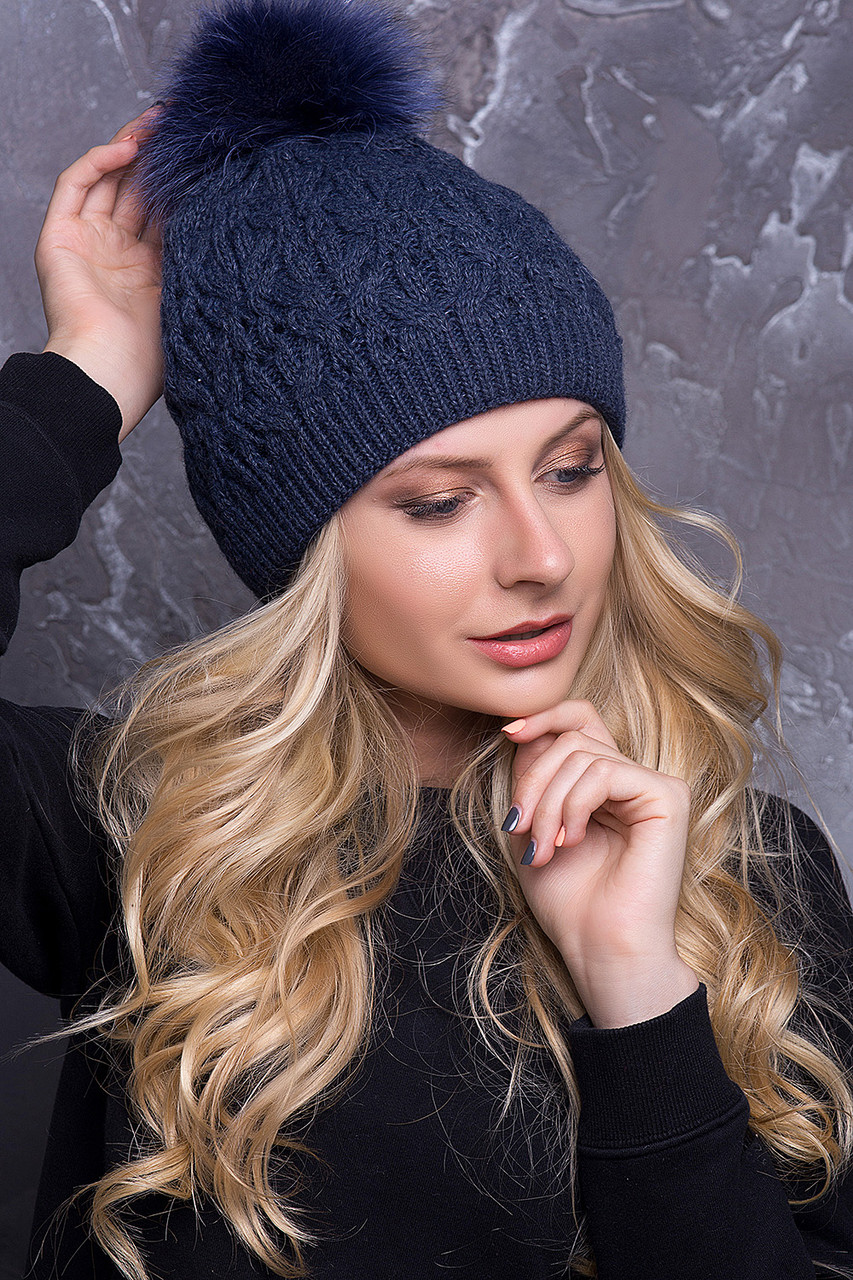 Женская шапка «Тереза» с цветным песцовым помпоном