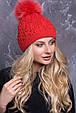 Женская шапка «Тереза» с цветным песцовым помпоном, фото 2